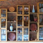 bookshelf and display cupboard with leadlight