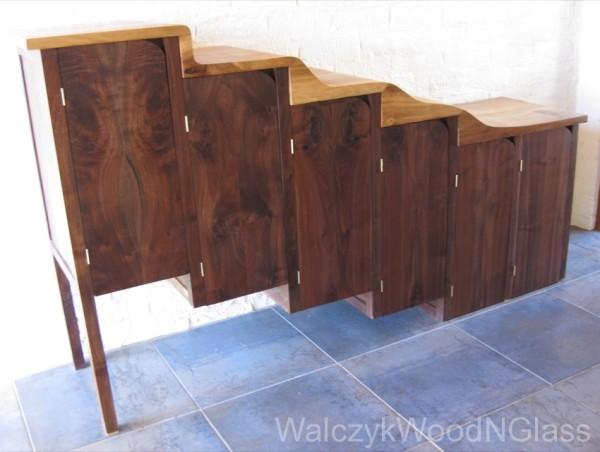 Shoe storage cupboard, walnut and liquidambar