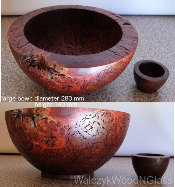 Jarrah burl bowls, one sliced from the other. $400