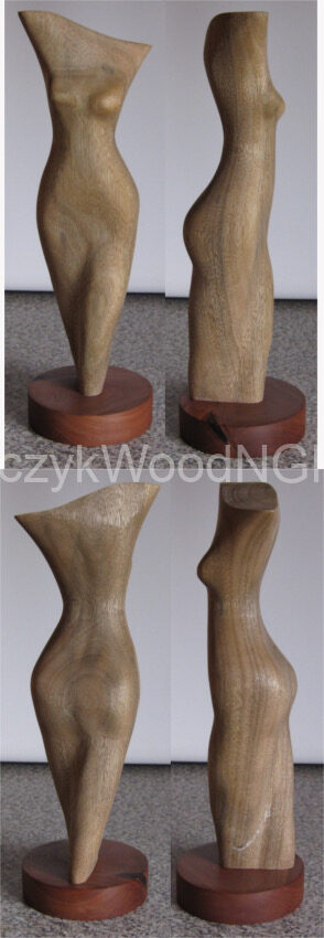 4th carving - torso. Camphor laurel on redgum stand