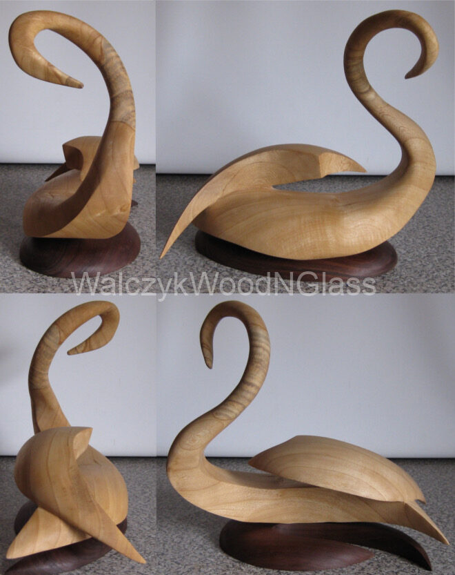 5th carving - swan. Acer negundo on redgum stand