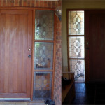 front door sidelights, outside and inside view