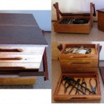Box for bonsai tools. Stringybark with redgum lid and handle.