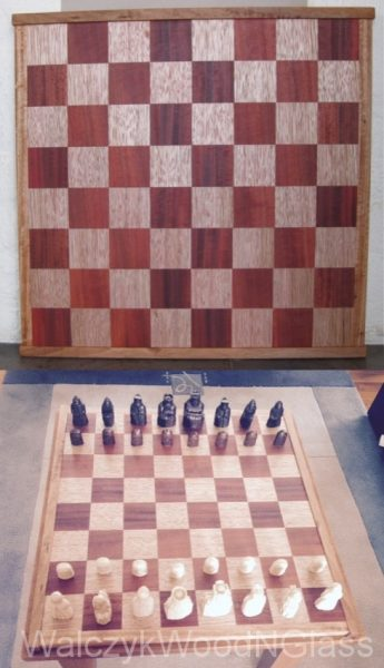 chess board (with clients hess pieces)